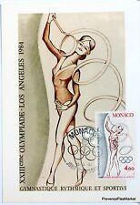 YT 1414 Olympische Spiele Los Angeles Gymnastik Monaco Karte maximum 1° Tag FCP
