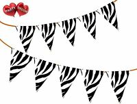Safari Animal Zebra Print Themed Bunting Banner 15 flags Stylish by PARTY DECOR