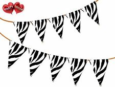 Safari Animal Zebra Themed Bunting Banner 15 Flags for Simply Stylish Party Deco