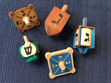LOT of 5 Wooden Dreidel Spinning Top Toys