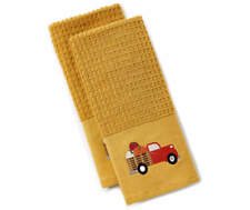 Autumn Mineral Yellow Vintage Truck Bed of Pumpkins 2 Pack Kitchen Towels NEW