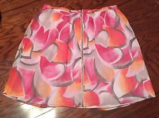 NEW  WOMEN'S MADISON PINK FLORAL SKIRT FRONT ZIPPED     Size 12