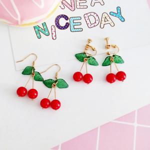 Red Cherry Fruit Ear Stud Crystal Fashion Charm Earrings Dainty Cute