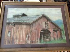 Framed and Matted Original Chalk Pastel Painting of Barn, by P. W. Ulmer, 2004