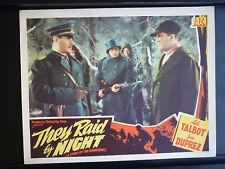 1942 THEY RAID BY NIGHT - LOBBY CARD - GUN WWII NAZIS VS BRITISH COMMANDOS - PRC