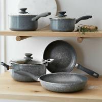 5 Piece Cookware Set Stone Grey Non-stick Cooking Frypan Saucepan Pot Aluminium