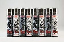 8 pcs Brand New Full Size Refillable Original Clipper Lighters Grim Reaper
