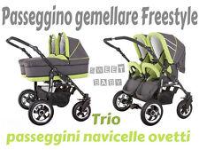 Passeggino gemellare freestyle TRIO navicelle ovetti grigio+verde lime