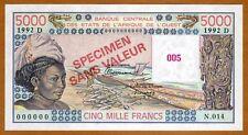 SPECIMEN West African States, Mali, 5000 (5,000) Fr, P-407Ds UNC