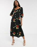 ASOS DESIGN Embroidered Button Through Maxi Dress in Black - SIZE UK 8