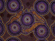 Winter Spirits Purple Aboriginal Australian Design Quilting Fabric 1/2 metre
