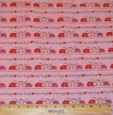 VALENTINE FABRIC! BY THE HALF YARD! QUILTING! LADYBUGS~LOVE BUGS~HEARTS~RED~PINK