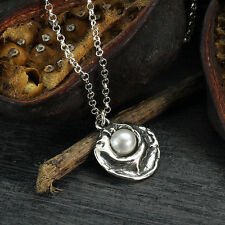 White Pearl Pendant 925 Sterling Silver Necklace Bridal Wedding Jewelry Y174