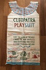 1950s Ivory Linen Cleopatra Playsuit Sack Cloth Dress Costume Egyptian Print VTG