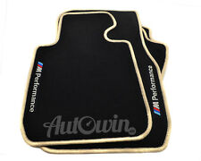 BMW 7 Series F01 Black Floor Mats Beige Rounds With M Performance Emblem Clips