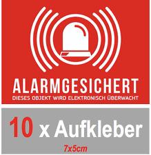 10 x Aufkleber Alarmgesichert, Alarmanlage, selbstklebend, Sicherheit 7x5 cm