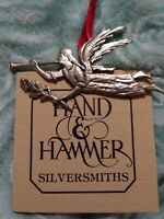 Hand & Hammer Angel Blowing Trumpet w/ Flower Sterling Silver Christmas Ornament