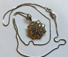 Hallmarked 9ct White Gold Iolite Citrine Diamond Pendant Enhancer 9ct Chain