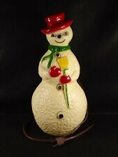 Christmas Snowman Light Hard Plastic Union Products 13 inches Tall Original Cord