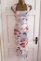 New Women's Floral Print Midi Party Bodycon Pencil Occasion Dress Size 8 - 16