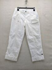 Maurices Womens 3/4 White  Surplus Roll-Up Tabs Pants Capris Comfort Summer NWT