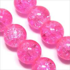 Lot de 20 Perles Craquelées en Verre 10mm Rose