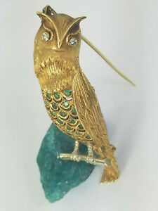 1.60ct Diamond Emerald Antique Toliro Owl 18K Gold Brooch