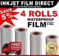 """5 MIL - Waterproof Inkjet Film Transparency  14"""" x 100' 4 - Rolls"""