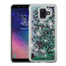 For Samsung Galaxy A6 - Green Glitter Pink Hearts Stars Liquid Skin Case Cover