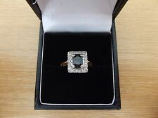 Stunning Art Deco Style 18ct Gold Sapphire & Diamond Ring Size L 1/2
