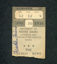 Original 1974 Beach Boys Concert Ticket Stub University of Notre Dame