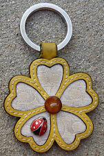 Coach Leather Key Ring Fob Chain Charm Ladybug Daisy Flower RARE floral
