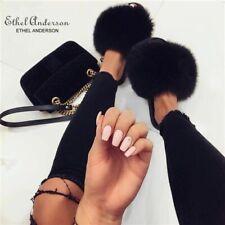 Fuzzy Flip Flop Slippers House Shoes Sandal Pink Black White Faux Fur Warm Girls