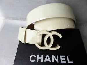 CHANEL BELT LACQUERED LACQUERED IVORY LOGO CC 95/38