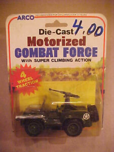 1981 ARCO Die-Cast Motorized Combat Force Machine Gunner Jeep, On Sealed Card