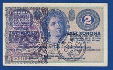 Hungary banknote, 2 Zwei Krone Korona 1914, CITTA DI FIUME Consiglio Nazionale !