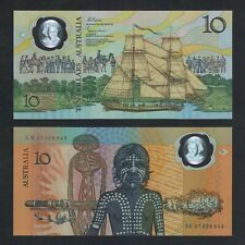 1988 AUSTRALIA 10 DOLLARS POLYMER P-49b aUNC>CAPTAIN COOK SHIP ABORIGINAL YOUTH