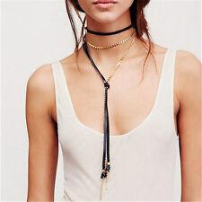 Punk Women Black Long Chain Necklace Multi-Layer Leather Alloy Drop Choker