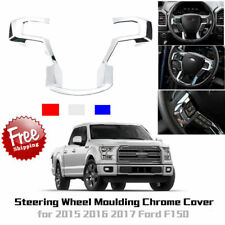 Car Chrome Steering Wheel Cover Moulding Trims Decor For 2015-2017 Ford F150