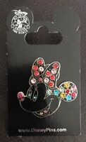 Disney * JEWELED / PAVE / MINNIE FACE / HEAD * Retired New on Card Trading Pin