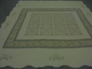 Pretty White California King Table Top w/Embroid Flower Pattern & Frame Quilt