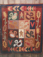 "Rooster Quilt Pattern ROOSTERS IN MY GARDEN 45.5"" x 52"" Meme's Quilts NEW UNCUT"