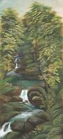 FOREST WATERFALL Antique Watercolour Painting c1900 IMPRESSIONIST
