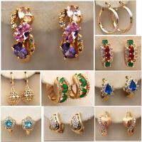 18K Gold Filled Earrings Women Wedding Round Stud Garnet Zircon Hoop Luxury gift