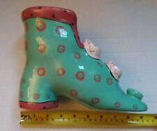 Piggy Bank Handpainted Ceramic Pink, Grey & Teal. Shoe Shape. Says ©Pati on heel
