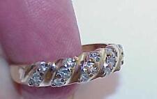 14K 15 DIAMOND WEDDING BAND 5 ROW SLANT RING YELLOW GOLD .40ct Size 7