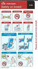 Safety Card - KLM Cityhopper - E190 - 2008 (S2251)