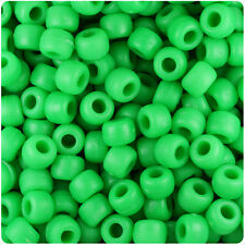 500 Neon Green Matte 9x6mm Barrel Pony Beads Made in the USA by The Beadery