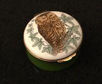 CRUMMLES & CO ROUND ENAMEL TRINKET PILL BOX COUNTRY SCENE WILDLIFE BIRD OWL