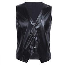 80s Rappers MC Hammer Vanilla Ice Men Patent Leather Vest Costume Top Clubwear L